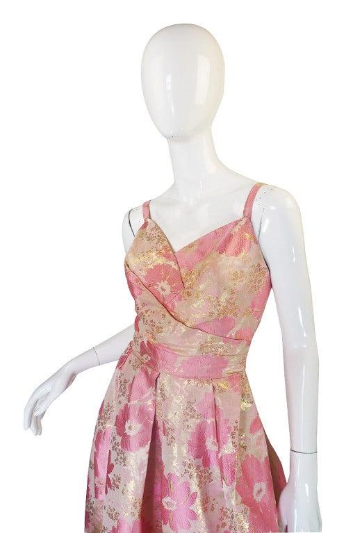 1950s Pink Silk I . Magnin Brocade Gown 5