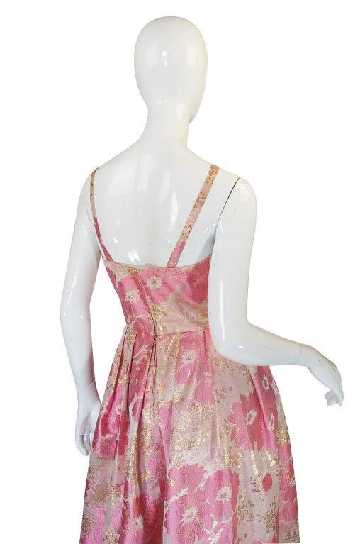 1950s Pink Silk I . Magnin Brocade Gown image 6