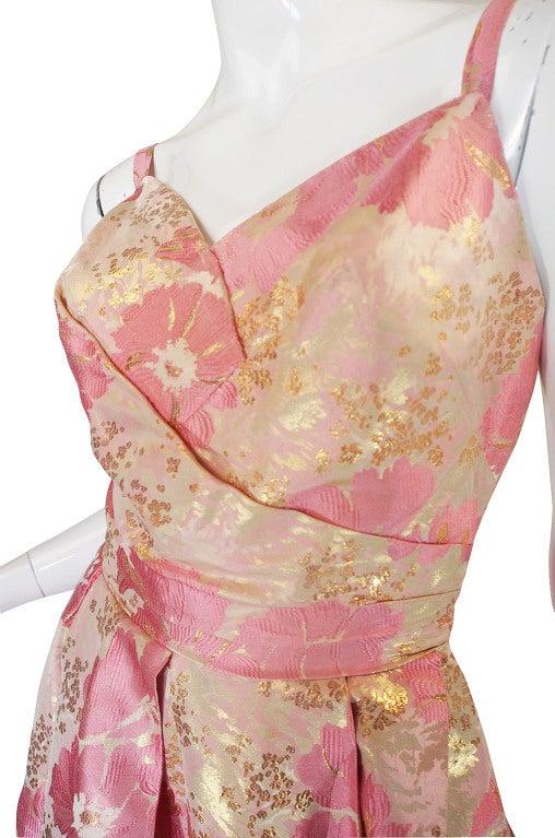 1950s Pink Silk I . Magnin Brocade Gown 7