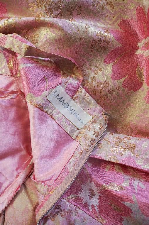1950s Pink Silk I . Magnin Brocade Gown 8