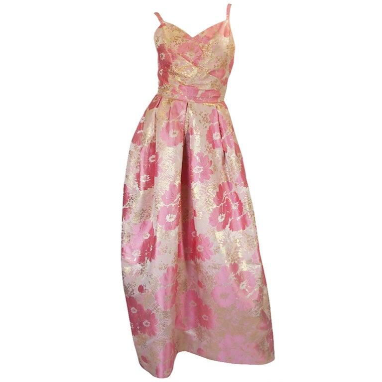 1950s Pink Silk I . Magnin Brocade Gown