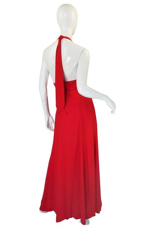 Women's 1970s Plunge Halter Ossie Clark Red Dress For Sale