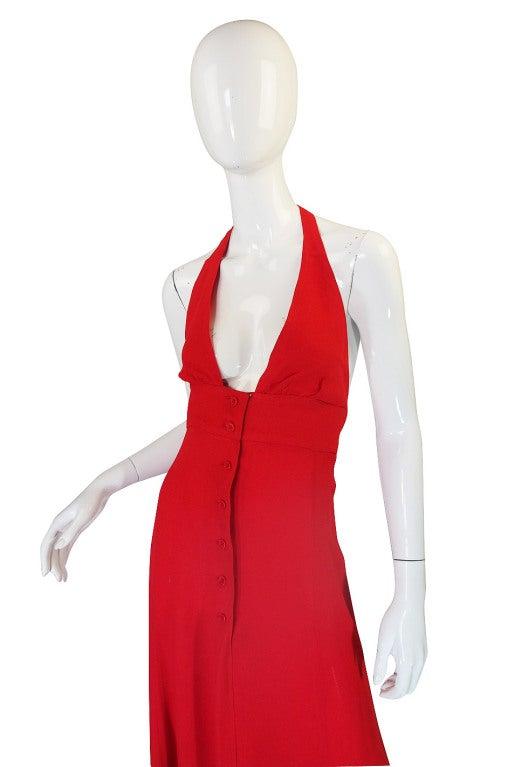 1970s Plunge Halter Ossie Clark Red Dress For Sale 2