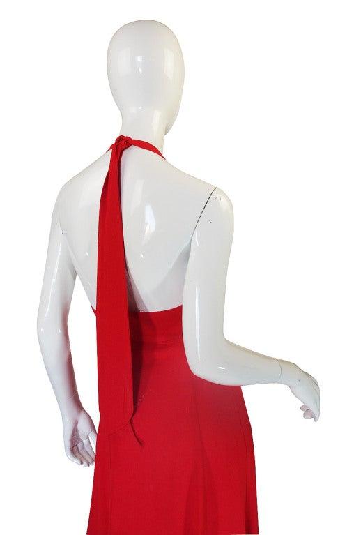 1970s Plunge Halter Ossie Clark Red Dress For Sale 3
