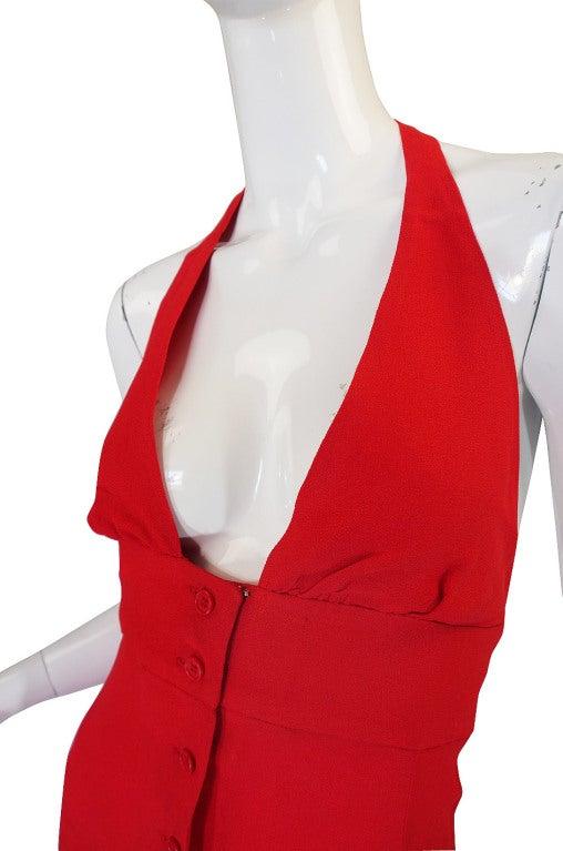1970s Plunge Halter Ossie Clark Red Dress For Sale 4