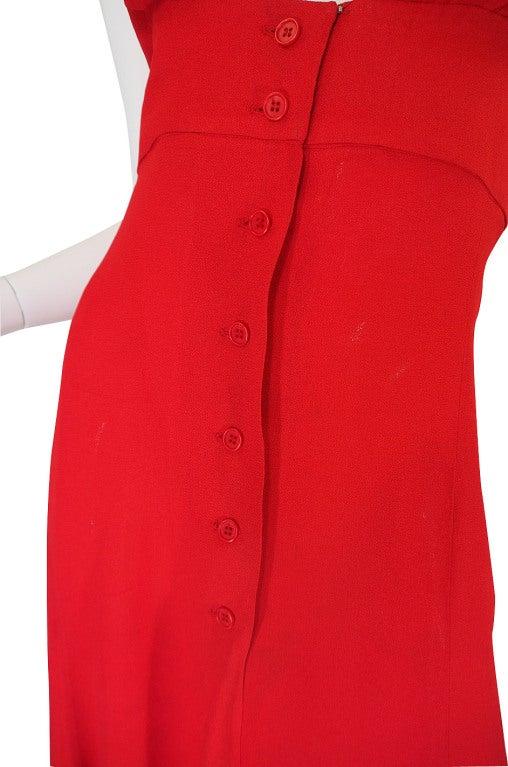 1970s Plunge Halter Ossie Clark Red Dress For Sale 5