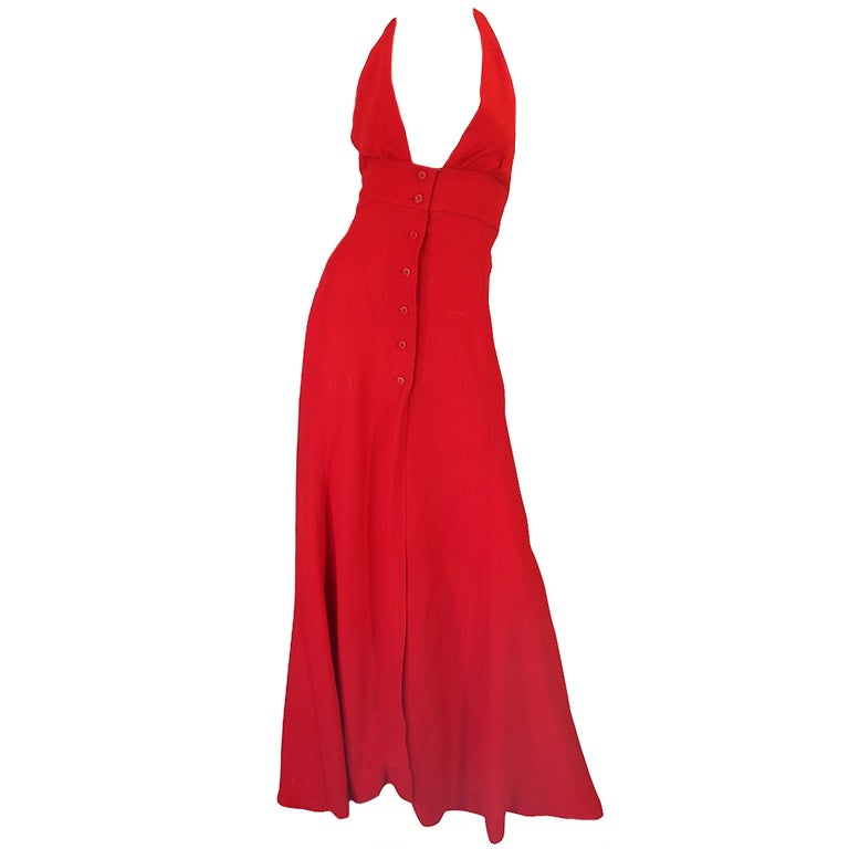 1970s Plunge Halter Ossie Clark Red Dress For Sale