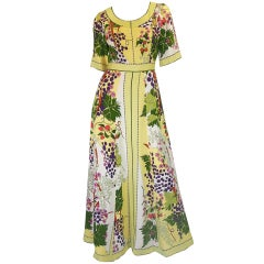 1960s Bessi Silk Flowers & Grapes Gown