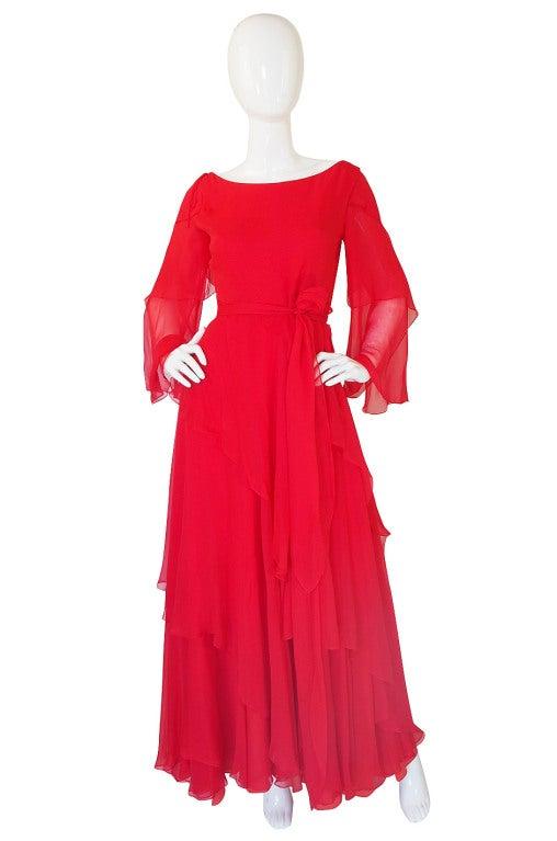 1970s Michael Novarese Tiered Red Silk Chiffon Dress 2