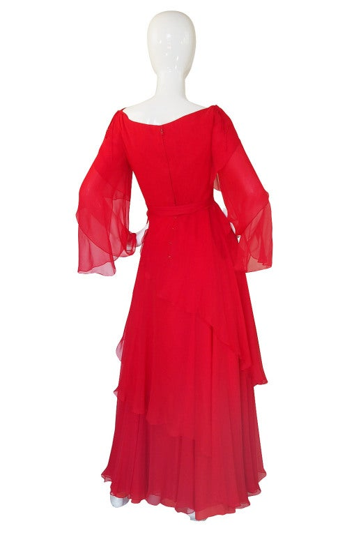 1970s Michael Novarese Tiered Red Silk Chiffon Dress 3