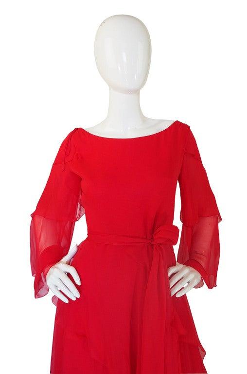 1970s Michael Novarese Tiered Red Silk Chiffon Dress 4