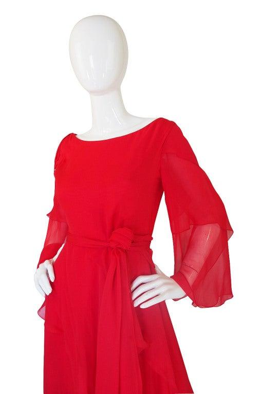 1970s Michael Novarese Tiered Red Silk Chiffon Dress 5