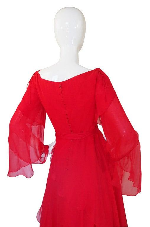 1970s Michael Novarese Tiered Red Silk Chiffon Dress 6
