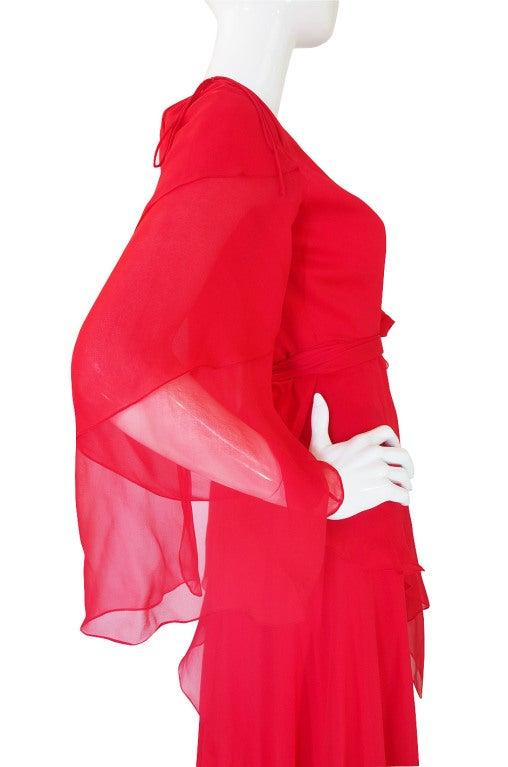 1970s Michael Novarese Tiered Red Silk Chiffon Dress 7