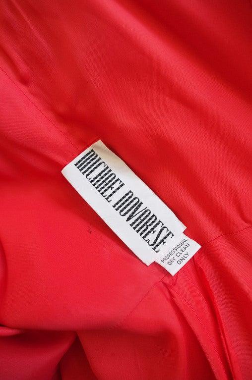 1970s Michael Novarese Tiered Red Silk Chiffon Dress 8