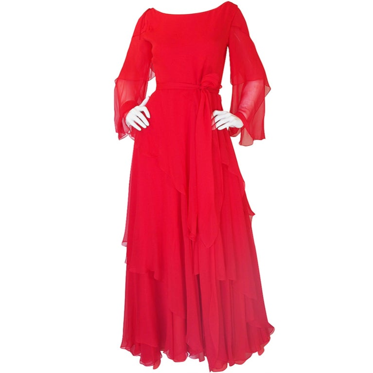 Michael Novarese Tiered Red Silk Chiffon Dress, 1970s