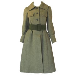 1960s Rare Philippe Venet Green Coat & Belt