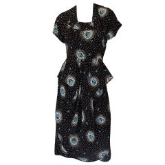 1940s Novelty Print Dancing Girl Swing Dress