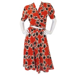 1940s Amazing Pin Up Wrap Skirt Set