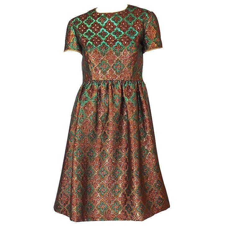 1960s Metallic Oscar De La Renta Dress 1