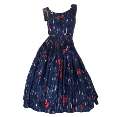 1950s Madeleine Fauth Silk Print Dress