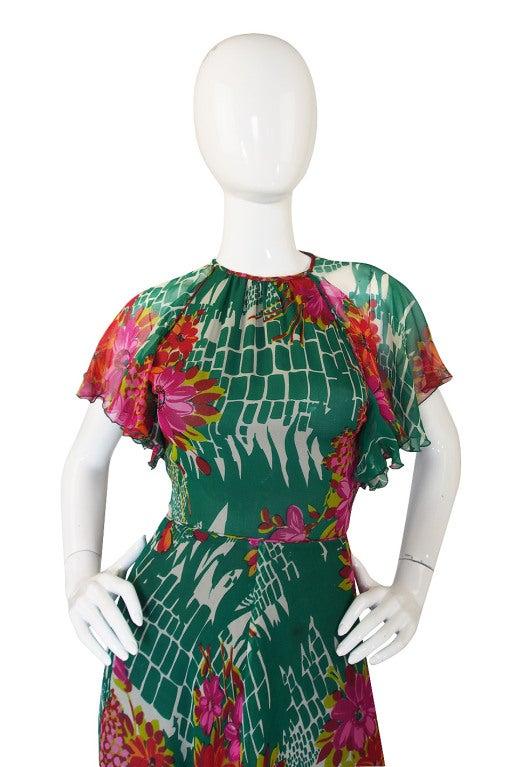 1970s Backless Scott Barrie Printed Silk Chiffon Dress At