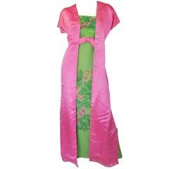 1950s Philip Hulitar Strapless Silk Dress & Skirted 1/2 Jacket