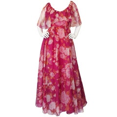 Wonderful 1960s Jean Louis Pink Floral Silk Chiffon Gown
