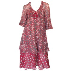c1969-1970 Ossie Clark Dress with a Celia Birtwell 'Pineapple' Print
