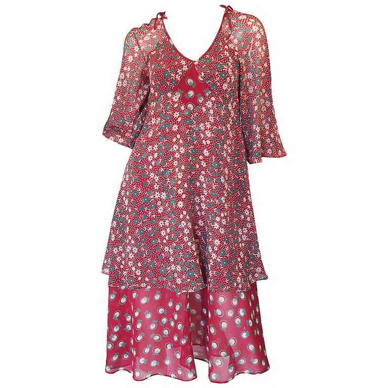 Ossie Clark Dress with a Celia Birtwell Pineapple Print, circa 1969-1970
