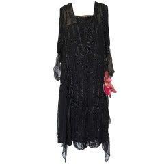 1920s Heavily Beaded & Sequin Silk Chiffon Flapper Dress