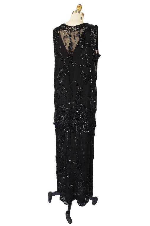1920s Incredible Lace Bead & Sequin Gown 2