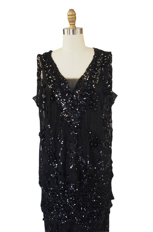 1920s Incredible Lace Bead & Sequin Gown 3