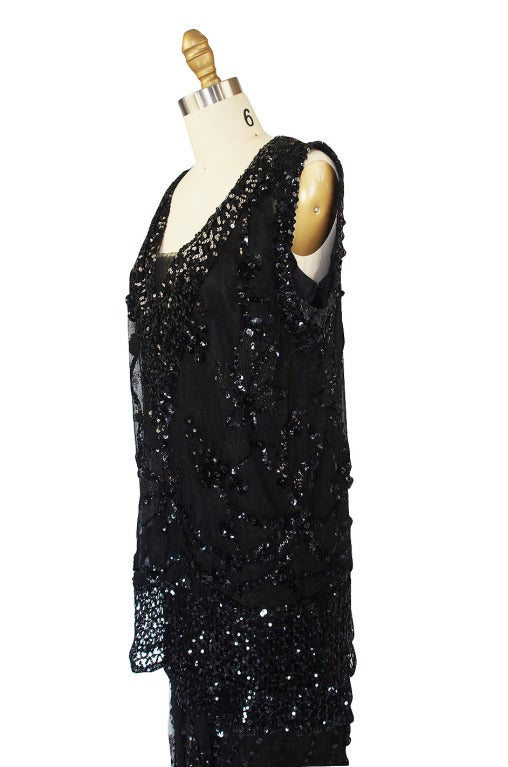 1920s Incredible Lace Bead & Sequin Gown 4