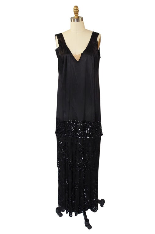 1920s Incredible Lace Bead & Sequin Gown 9