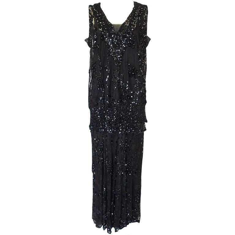 1920s Incredible Lace Bead & Sequin Gown 1