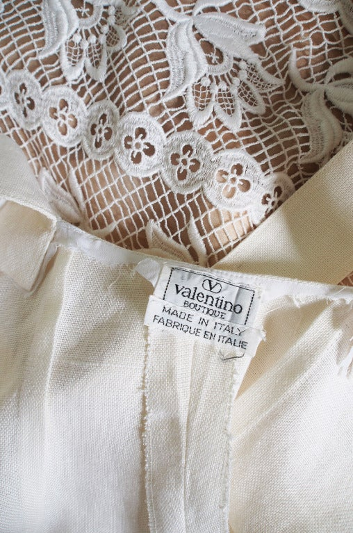 1970s Valentino Cross Back Linen Dress 6