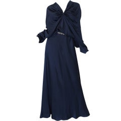 c2000s Yves Saint Laurent Midnight Blue Silk Bias Cut Dress