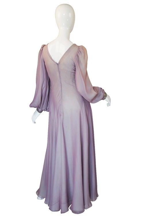 1970s Stavropoulos Hand Beaded Bias Cut Silk Chiiffon Dress 2