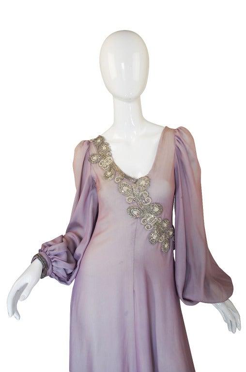 1970s Stavropoulos Hand Beaded Bias Cut Silk Chiiffon Dress 3