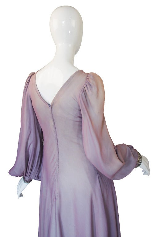 1970s Stavropoulos Hand Beaded Bias Cut Silk Chiiffon Dress 4