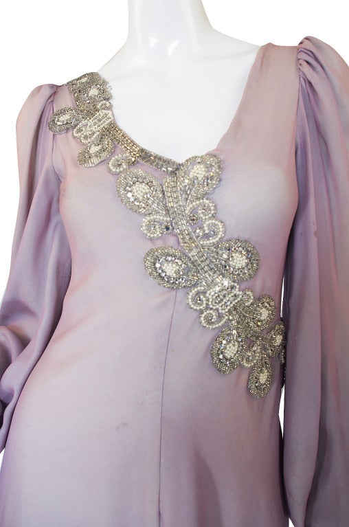 1970s Stavropoulos Hand Beaded Bias Cut Silk Chiiffon Dress 5