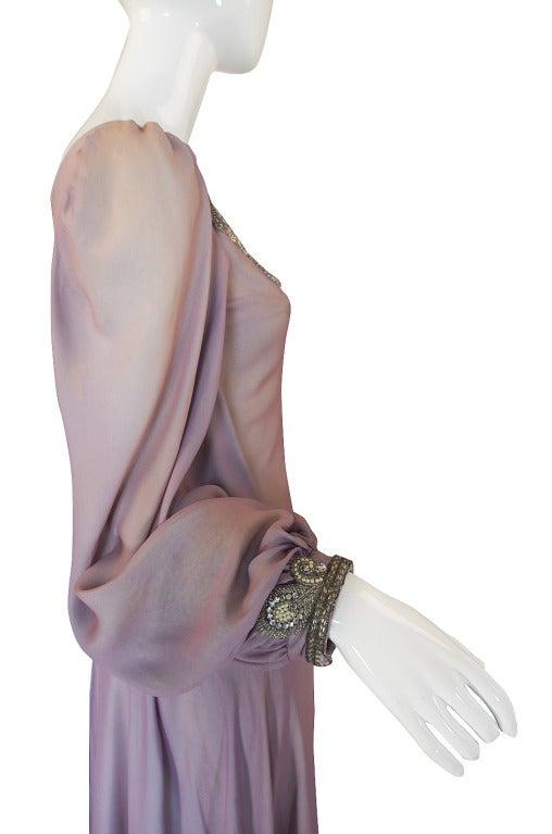 1970s Stavropoulos Hand Beaded Bias Cut Silk Chiiffon Dress 6