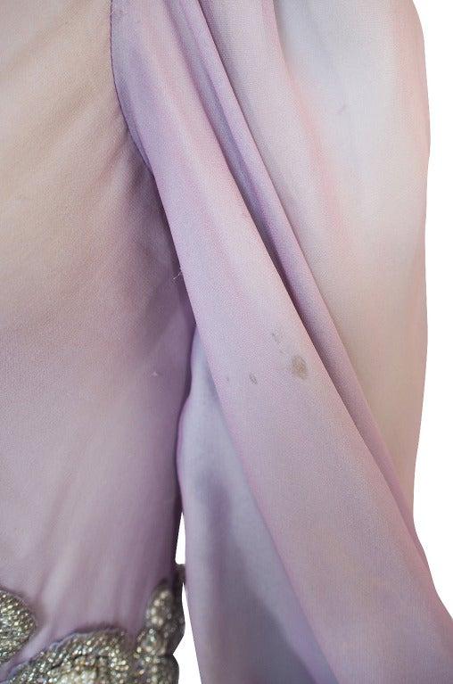 1970s Stavropoulos Hand Beaded Bias Cut Silk Chiiffon Dress 7