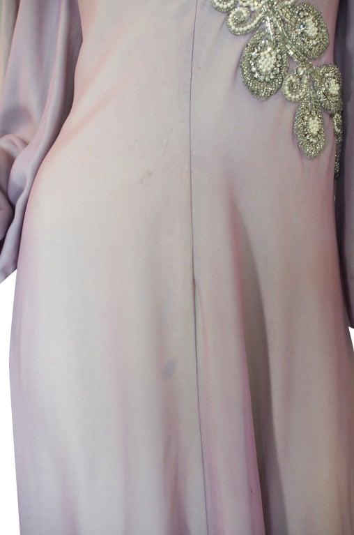 1970s Stavropoulos Hand Beaded Bias Cut Silk Chiiffon Dress 8