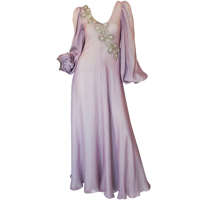 1970s Stavropoulos Hand Beaded Bias Cut Silk Chiiffon Dress 1