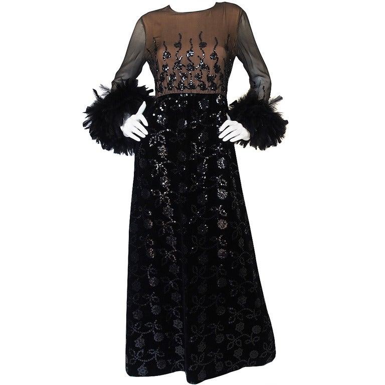 Oscar de la Renta Museum Held Feather and Sequin Dress, 1970s