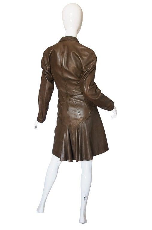 1980s Alaia Olive Leather Bustle Back Coat or Dress 2