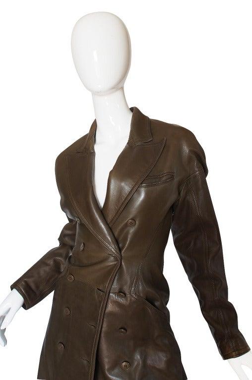 1980s Alaia Olive Leather Bustle Back Coat or Dress 4