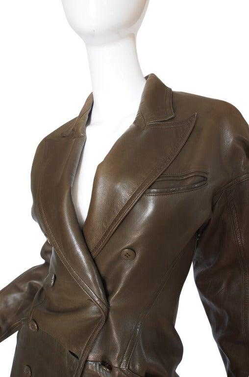 1980s Alaia Olive Leather Bustle Back Coat or Dress 6